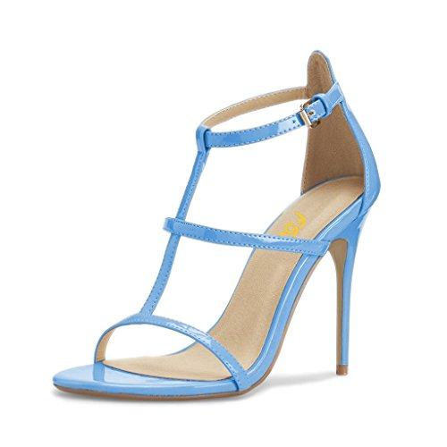 FSJ Women Fashion Evening Dancing Sandals Strappy Open Toe High Heel Stiletto Shoes Size 6 Light Blue