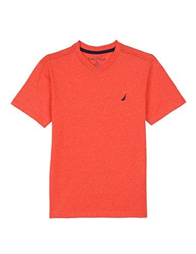 Nautica Little Boys' Short Sleeve Solid V-Neck T-Shirt, Scarlet, M(5/6) (5 Short Pro Sleeve T-shirts)