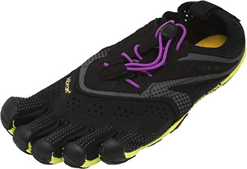 Vibram Women's V Running Shoe, Black/Yellow/Purple, 38 EU/7.5-8.0 M US B EU