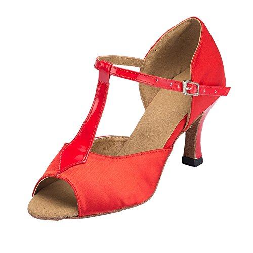 Dance Toe Minitoo Sandales Peep En strap Femme Red Th114 Mariage Satin Latine Piste De Danse Pour nbsp;t Taogo qarX1Zaw