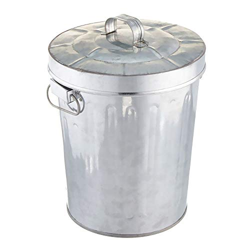 - MWShop Corrugated Waste Basket Galvanized Steel Tin Trash Can with Lid Round, Silver