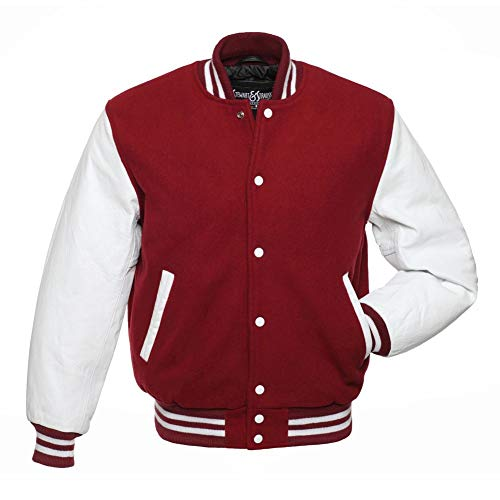 Stewart & Strauss Varsity Letterman Jacket - Cardinal Wool & White Leather - Medium (Jacket Varsity Wool)