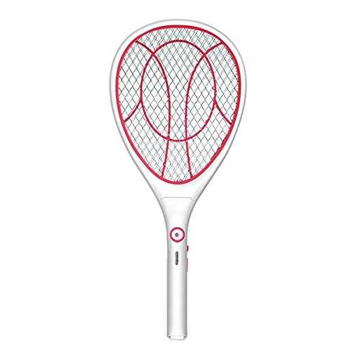 Electric Mosquito Fly Bugs Swatter Zapper Bat Racket, Pests Insects Control Killer Repellent, USB Rechargeable, LED Lighting, Double Layers Mesh Protection (Pink)
