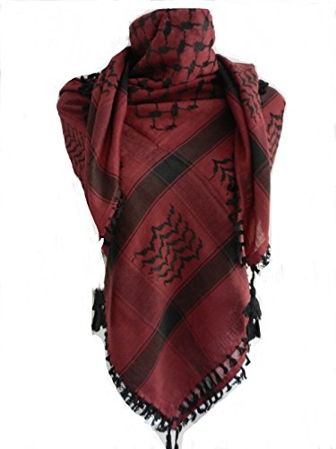 Burgundy Black Arab Shemagh Head Scarf Neck Wrap Cottton Palestine Arafat RD Red (Wear Shemagh Desert)