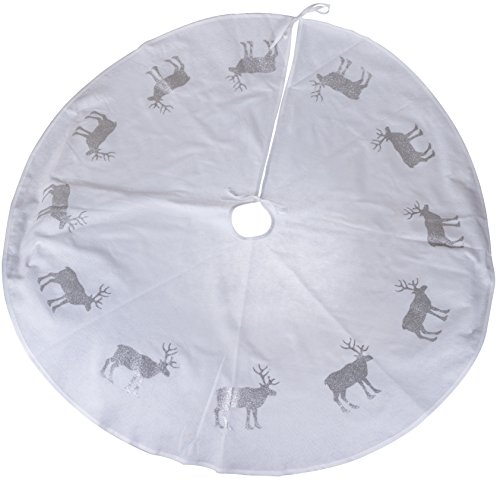 (Clever Creations White Reindeer Christmas Tree Skirt Silver Glitter Reindeer | Traditional Classic Festive Holiday Decor | Catches Falling Needles and Sap | 47