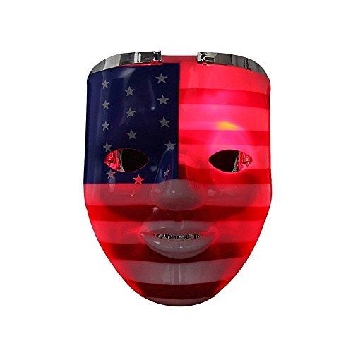 Light up Mask, DAXIN DX LED Halloween Scary Mask US Flag/Skeleton Costume for Men Women Kids,Colorful(us Flag Mask),Medium