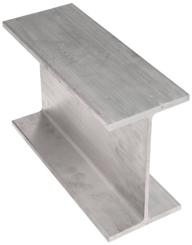 6061 Aluminum I-Beam, Unpolished (Mill) Finish, Extruded Temper, ASTM B221, Equal Leg Length, Squared Corners, 5'' Leg Lengths, 8'' Width, 0.35'' Wall Thickness, 72'' Length by Small Parts