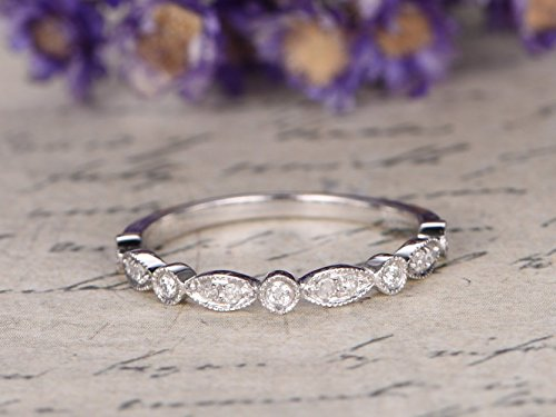 Antique Diamond Wedding Band Solid 14k White Gold Engagement Ring Half Eternity Marquise Milgrain Art Deco Stacking Ring Bridal Set Anniversary Gift Matching Band