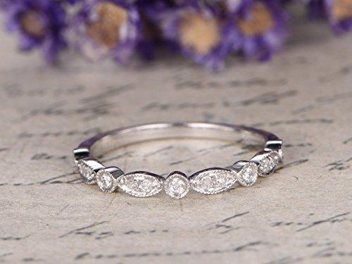 Antique Diamond Wedding Band Solid 14k White Gold Engagement Ring Half Eternity Marquise Milgrain Art Deco Stacking Ring Bridal Set Anniversary Gift Matching Band ()