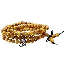 Handmade Tibetan Elastic 6mm Yellow Wood 108 Prayer Beads Wrap Bracelet Mala with Removable Charms