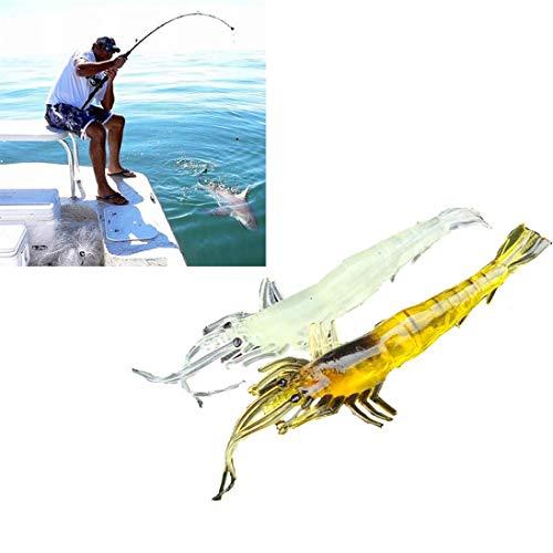 Lake Fork Tackle Spoon - Quaanti 5pcs Shrimp Soft Prawn Lure Hook Tackle Bait Saltwater Bass Fishing Lures Durable Practical Tools 9cm (Multicolor)