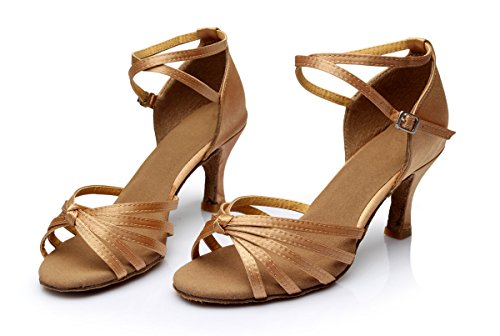 Alto Latino Baile Lazo de Zapatos Tacón para Medio VESI Beige Mujer de gqYW6UUA