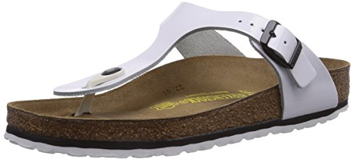 Birkenstock Women's Gizeh Cork Footbed Thong Sandal Wht Blk 37 M (Gizeh White Leather)