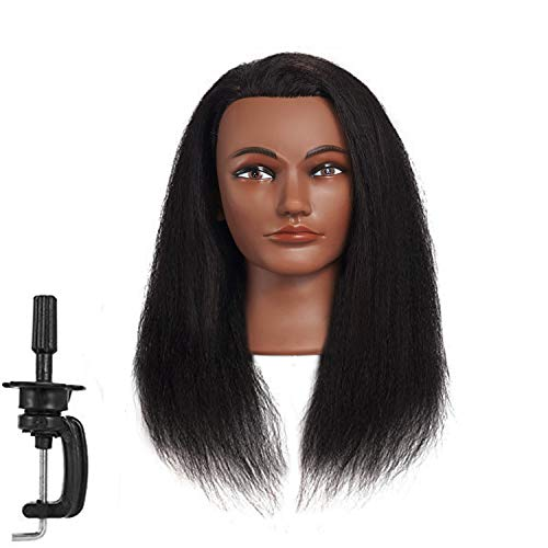 Hairginkgo Afro Mannequin Head 100% Real Hair Manikin Head Styling Hairdresser Training Head Cosmetology Doll Head for Dyeing Cutting Braiding Practice with Clamp (92019B0214) ()