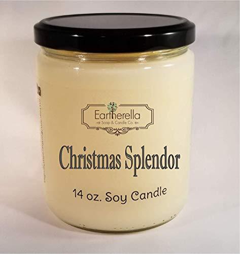 CHRISTMAS SPLENDOR Natural Soy Wax 14 oz. Jar Candle, 90+ hours, apples, oak, balsam, fir, pine, cinnamon, clove