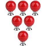 Choubao Red Round Knobs and Handles for Cabinet/Girls Dresser/Kids Locker/Cupboard Wardrobe Kitchen Drawer Ceramic Pulls - 6pcs