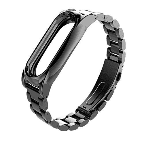Price comparison product image Alonea For Xiaomi Mi Band 2 Magnet Stainless Steel Luxury Wrist Strap Metal Wristband (Black)
