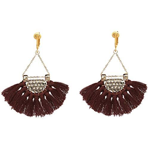 Clip Earring Shop-Clip On Tassel Earrings-Dangle Clip On Earrings Silk Tassel Long Clip Earrings Bohemian (Brown Art Deco Tassels)