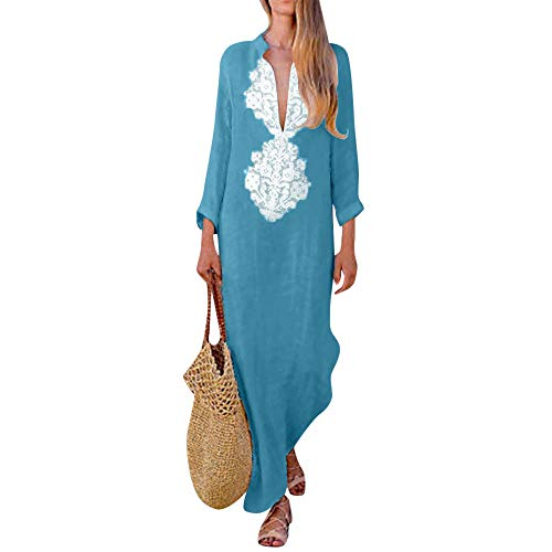 (Todaies Clearance Women Printed Long Sleeve Dress V-Neck Maxi Dress Split Hem Baggy Kaftan Long Dress)