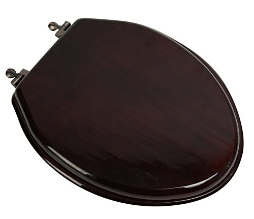 (Bath Décor 5F1E2-16OB Elongated Toilet Seat in Traditional Design with Oil Rubbed Bronze Metal Hinges, Mahogany Stained Finish )