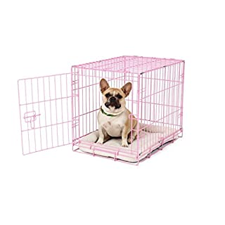 Carlson Pink Secure and Compact Single Door Metal Dog Crate, Small