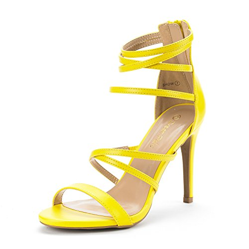 (DREAM PAIRS Women's Show Yellow Pu High Heel Dress Pump Sandals - 7.5 M)