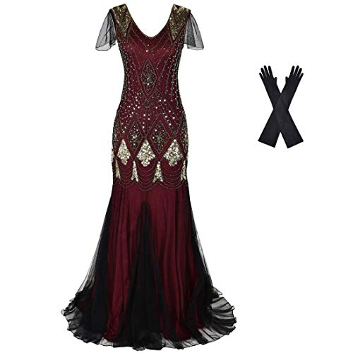Women Evening Dress 1920s Flapper Cocktail Mermaid Plus Size Formal Gown with Gloves (L/US 14-16, Burgundy Gold)