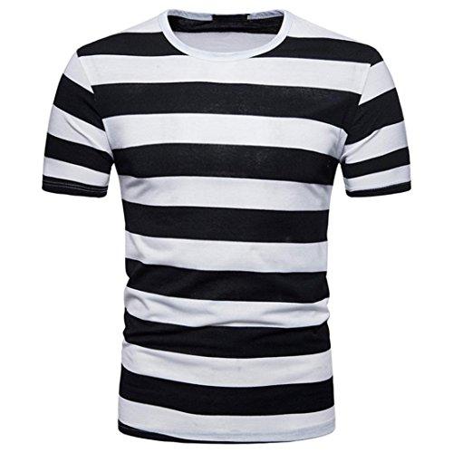 Bluestercool Été T-Shirt à Col Rond Décontracté à Rayures Pour Hommes Noir