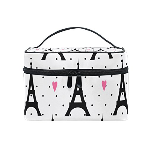 GIOVANIOR Paris Eiffel Tower Love Print Large Cosmetic Bag Travel Makeup Organizer Case Holder for Women Girls by GIOVANIOR (Image #5)