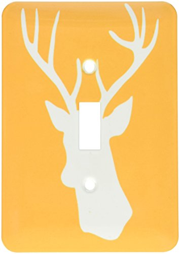 lsp_179701_1 White Stag Head Silhouette on Orange Country...