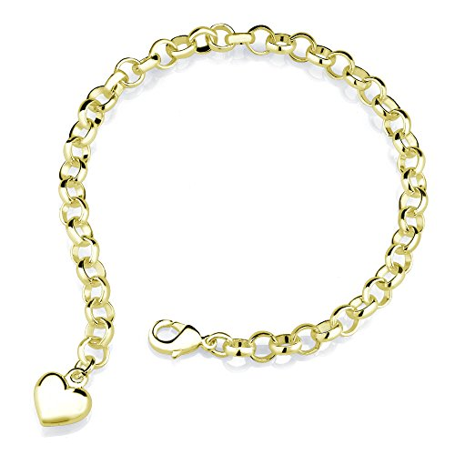 Inspired Silver Plated Heart Charm Bracelet (Yellow Gold) Beverly Hills Gold Jewelry