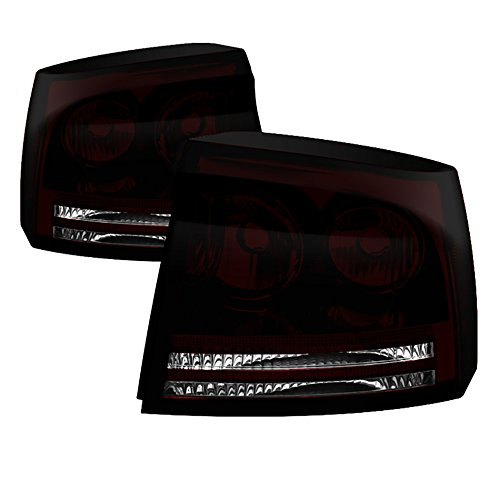 VIPMOTOZ Factory Style Tail Light Lamp For 2006-2008 Dodge Charger - Smoke Red Lens, Driver & Passenger Side