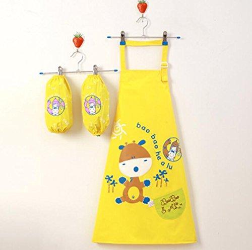 Strollway Hochwertige Schürze Niedliche Malerei Schürzen Cartoon Wasserdichte Kittel für Kinder Alter 2-4 (gelb)