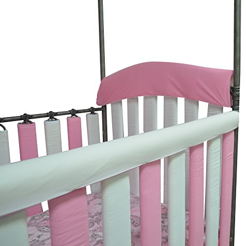 Go Mama Go Organic Teething Guard Protects Baby and Crib, Pink/White, 52'' x 12'' by Go Mama Go (Image #3)