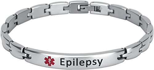 Elegant Surgical Grade Steel Medical Alert ID Bracelet For Men and Women (Women's, Epilepsy)