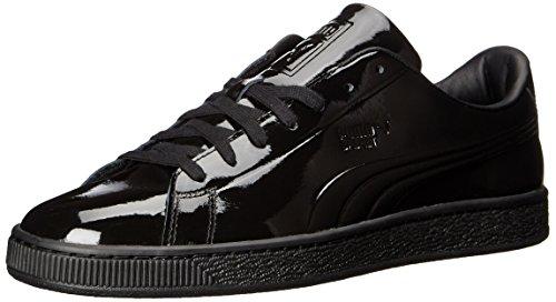PUMA Men's Basket Classic Patent Emboss Fashion Sneaker, Puma Black, 10 M US