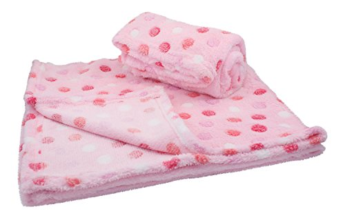 30x30 Inch Plush Fleece Girls Baby Blanket - Polka Dot Blankets by bogo Brands (Set of 2 - Pink)
