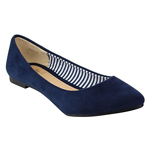Betani FB67 Women's Slip On Casual Ballet Flats, Color:NAVY, Size:7.5