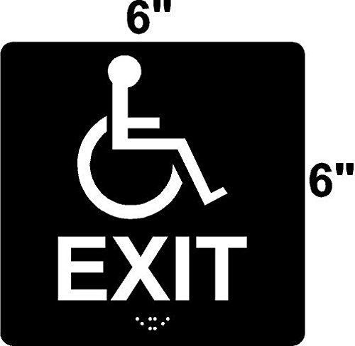 ADA Compliant Handicap EXIT Sign with Wheelchair 6'' X 6'' Black by SIGNXPRESS (Image #1)
