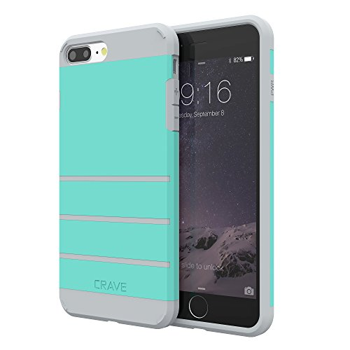 iPhone 8 Plus Case, iPhone 7 Plus Case, Crave Strong Guard Protection Series Case for Apple iPhone 8/7 Plus (5.5 Inch) - Mint/Grey