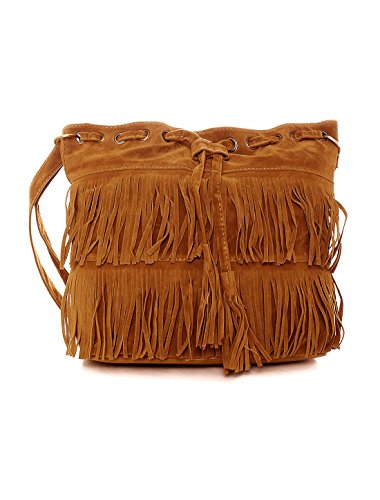 uxcell Women Drawstring Fringe bucket