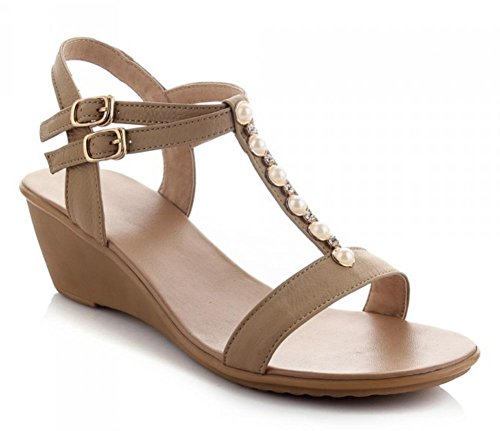 Sommer offene Sandalen Hang mit niedrigen Absätzen Sandalen und Pantoffeln Sandalen Frauen weibliche Perle apricot