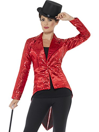 Smiffy's Women's Sequin Tailcoat Jacket, Ladies, Red, Large