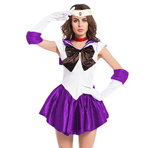Sailor Mars Costume For Kids (Quesera Women's Sailor Moon Costume Mercury Mars Fancy Dress Halloween Cosplay Outfit, Purple, TagsizeXL=USsizeM)