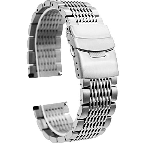 Silver 22mm Stainless Steel Watch Bands Metal Bracelet Mesh Watch Strap with Push Button Deployment Clasp for Men Women