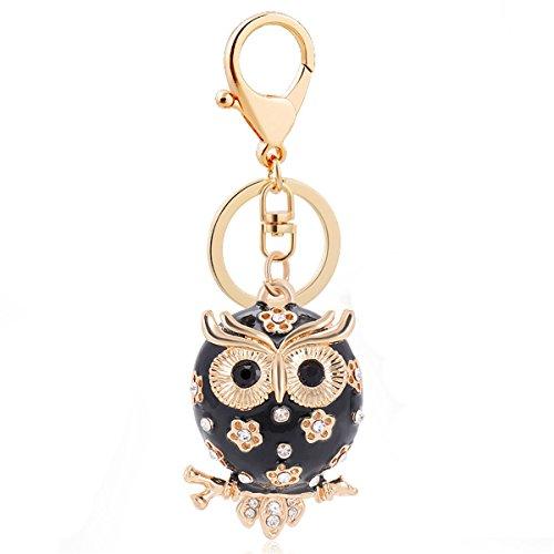 Reizteko Enamel Owl Keychain Crystal Keyring Rhinestones Purse Pendant Handbag Charm (Black) (Purse Pendant)