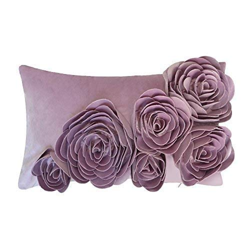 JWH 3D Handmade Accent Pillow Cases Rose Flowers Cushion Covers Velvet Decorative Pillowcases Home Sofa Car Bed Living Room Office Chair Decor Pillowslips Rectangular Gifts 12 x 20 Inch Purple ()