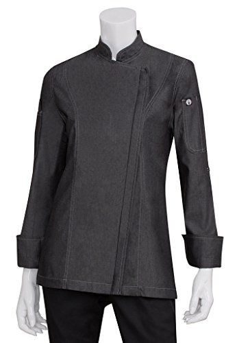 Chef Works Womens Gramercy Denim Chef Coat, Black, X-Large