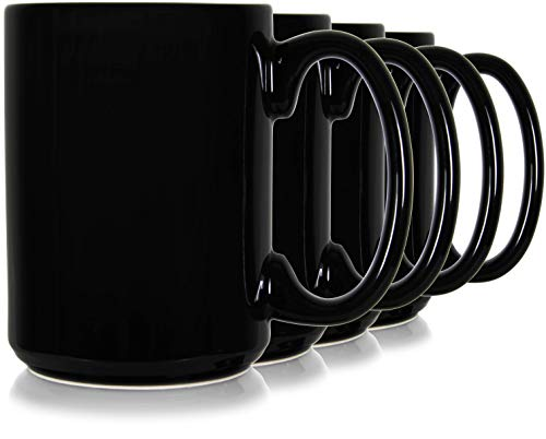 (15oz Classic Black Coffee Mugs. Large Handle and Ceramic Construction, Set of 4 by Serami)