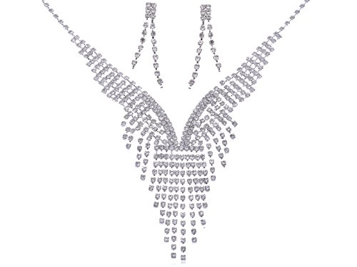 (Alilang Womens Silvery Tone Clear Rhinestones Dramatic Chunky Statement Necklace Earrings)